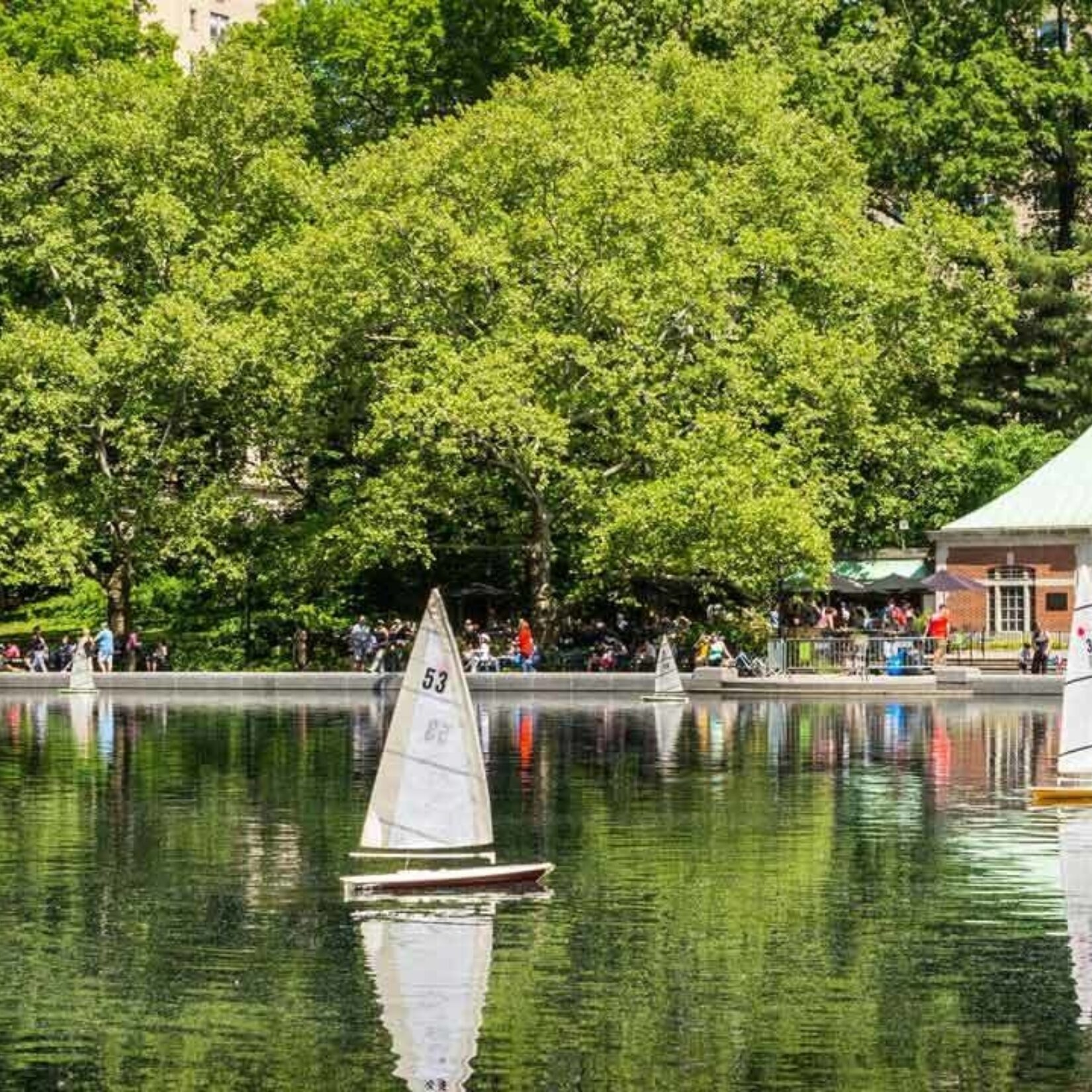 Model sailboats are reflected in the stillness of Conservatory Water.