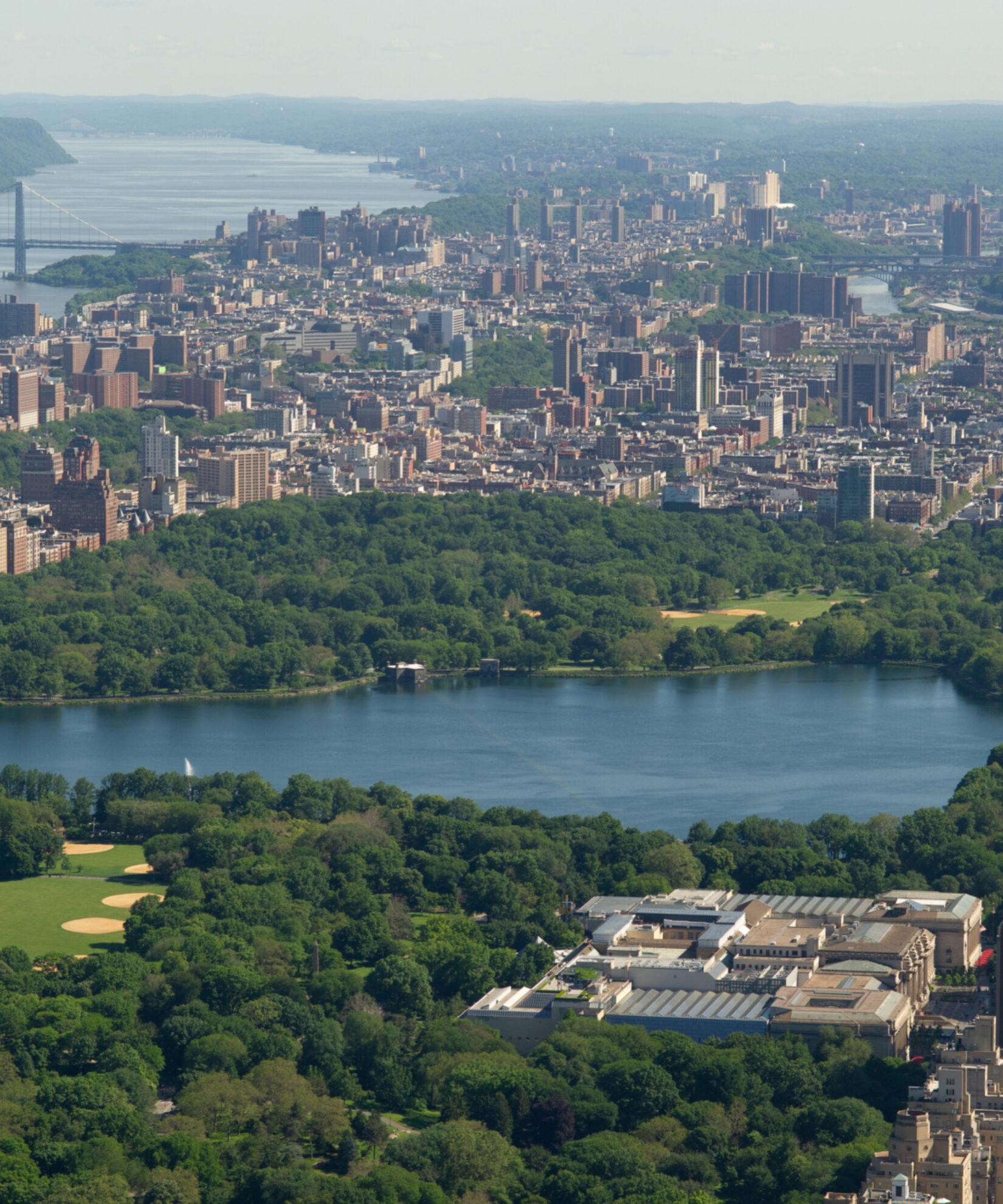 Aerial shot of the Reservoir in Central Park