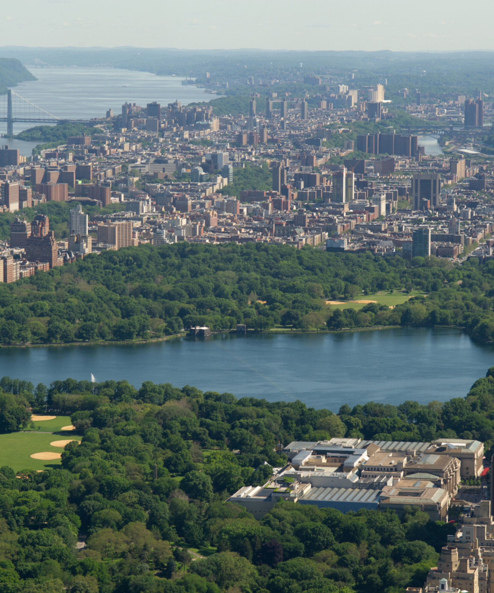 Aerial shot of the Reservoir in Central Park
