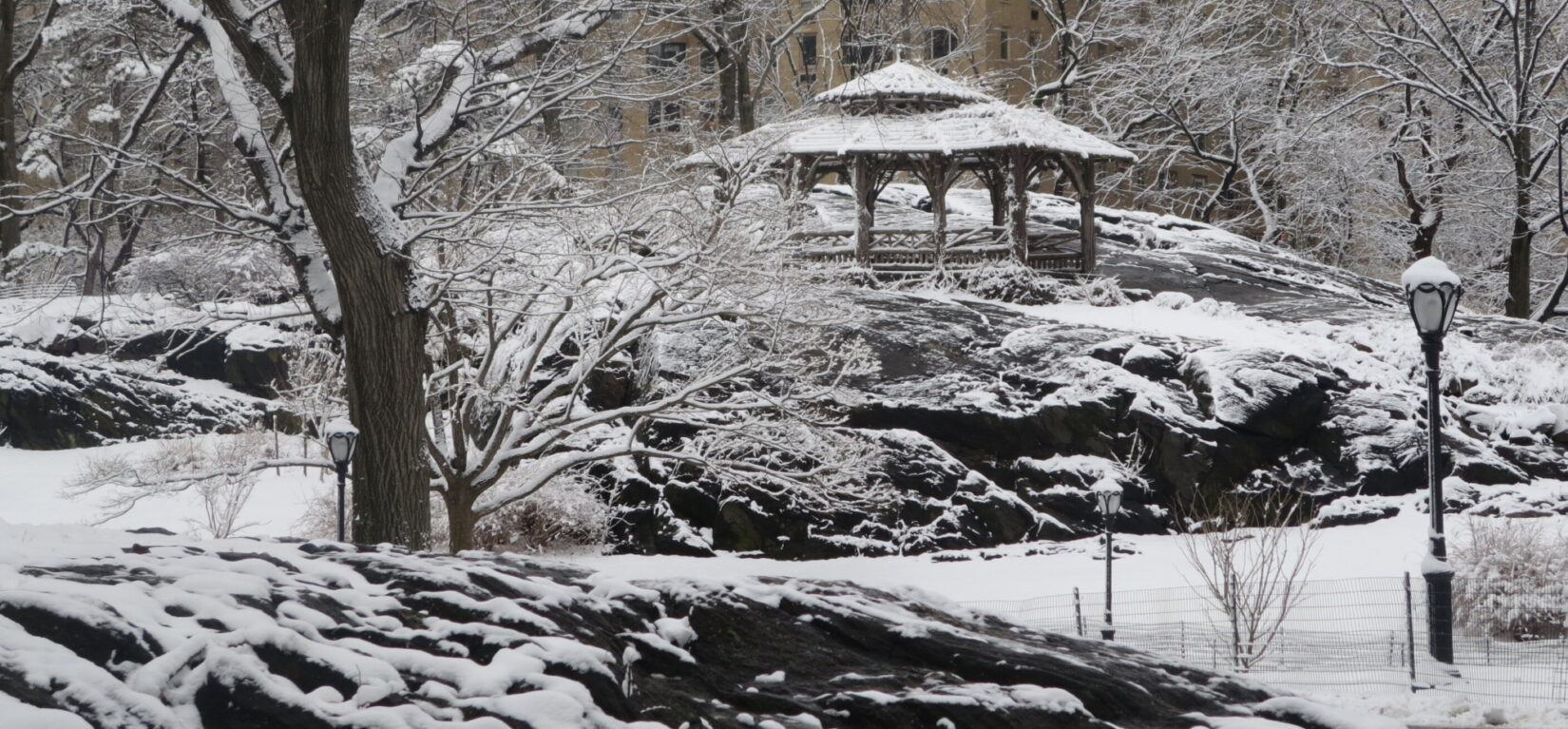 The rustic structure atop the Dene highlights this winter wonderland