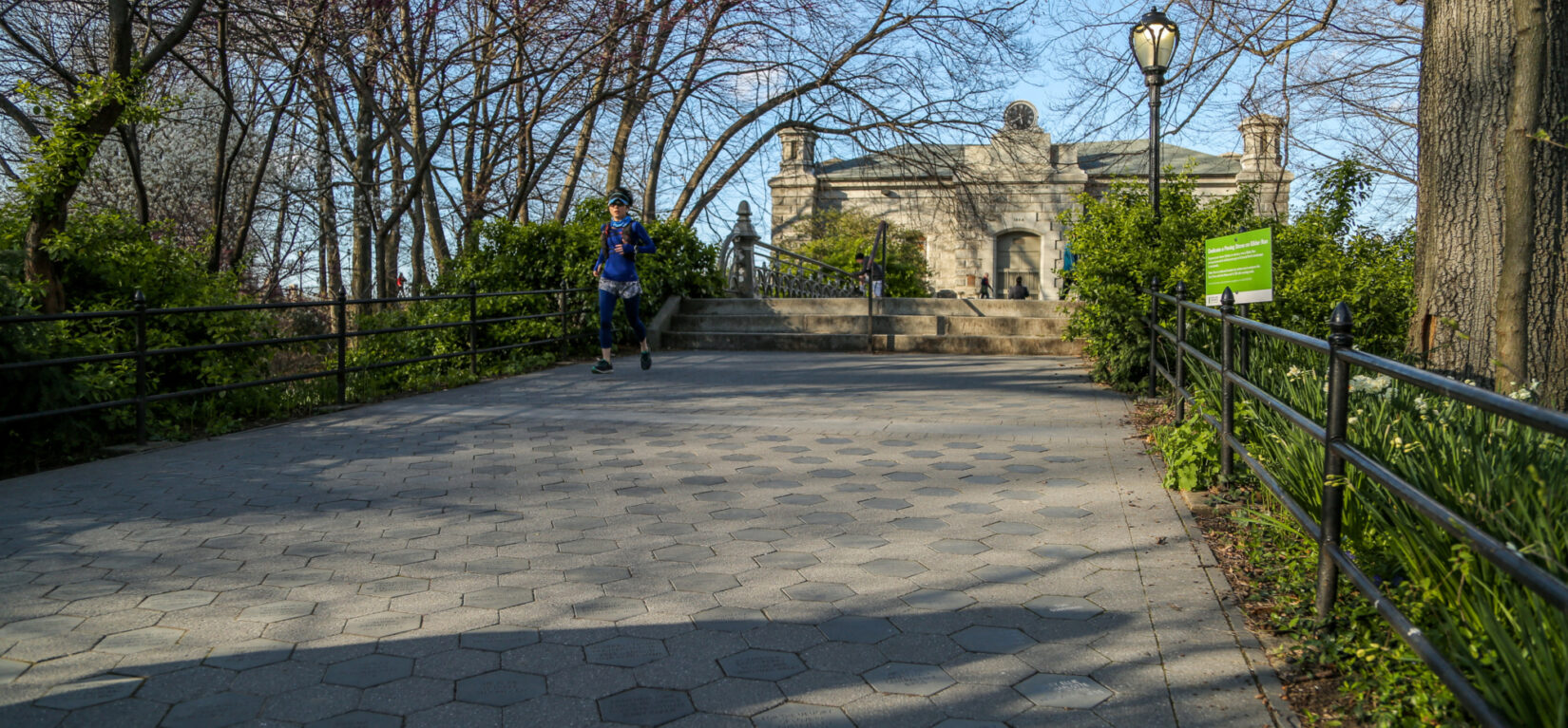 The memorial stones of Gilder Run make up this paved walkway