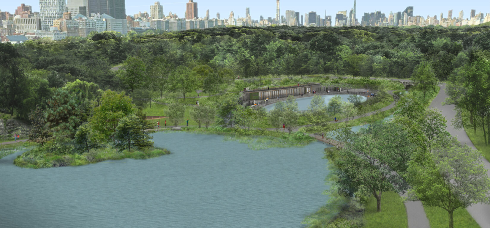 A birds-eye rendering of the restored Harlem Meer, featuring improvements to Lasker Rink and Pool