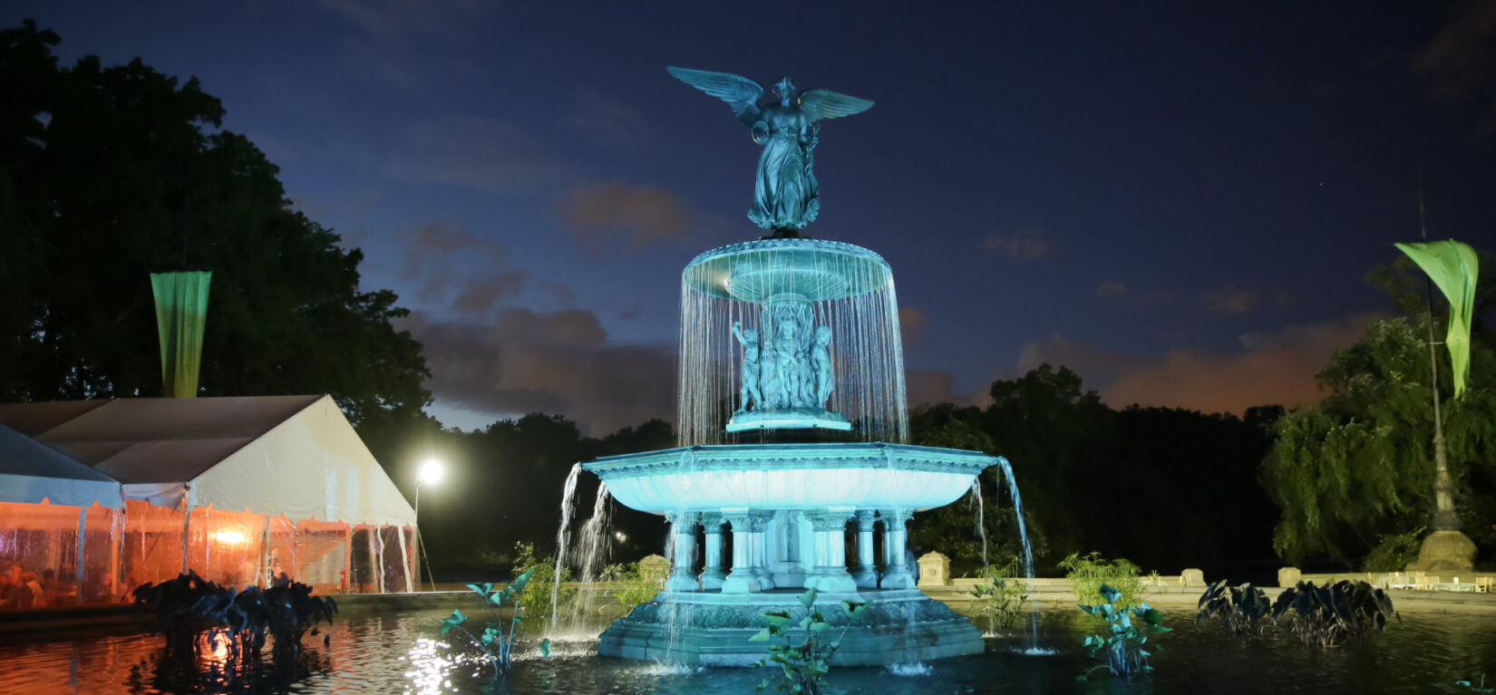 Bethesda Fountain pictured with dramatic lighting at night
