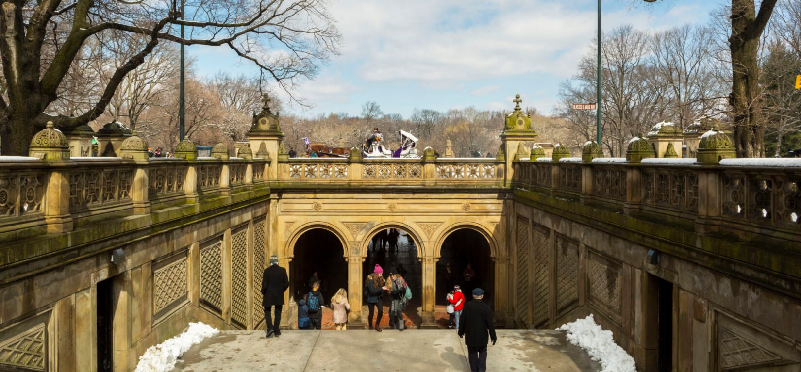 Looking north at a roadway with Bethesda Arcade below and a horse carraige crossing above