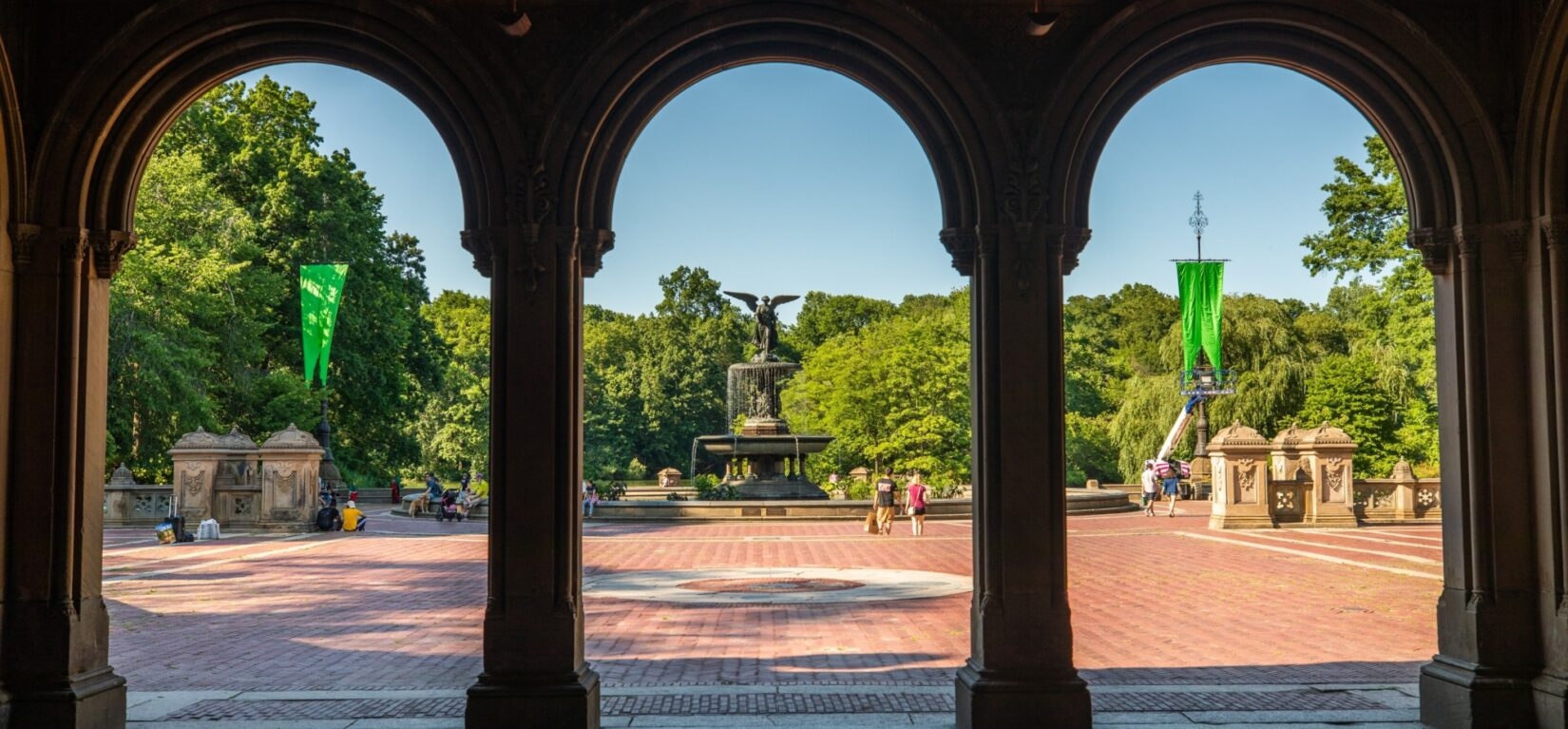 Bethesda Terrace framed in 3 arches looking out from the Arcade