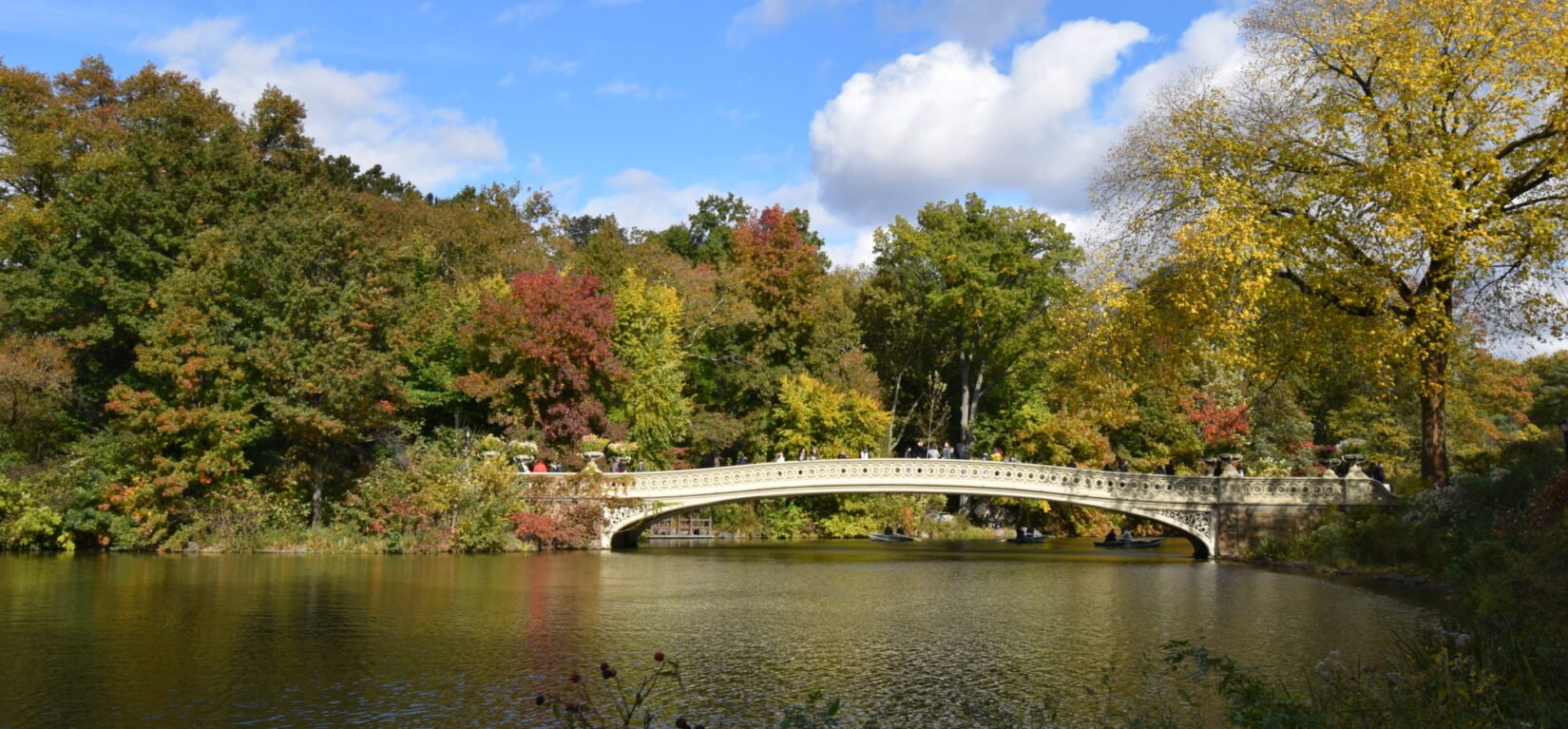 Bow Bridge seen in fall on a sunny day