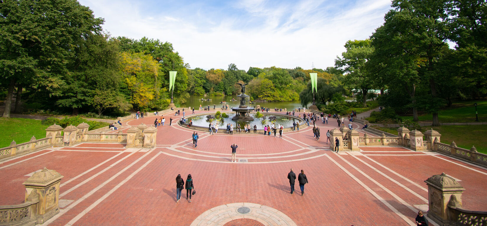 A wide-angle photograph of Bethesda Terrace taken from above