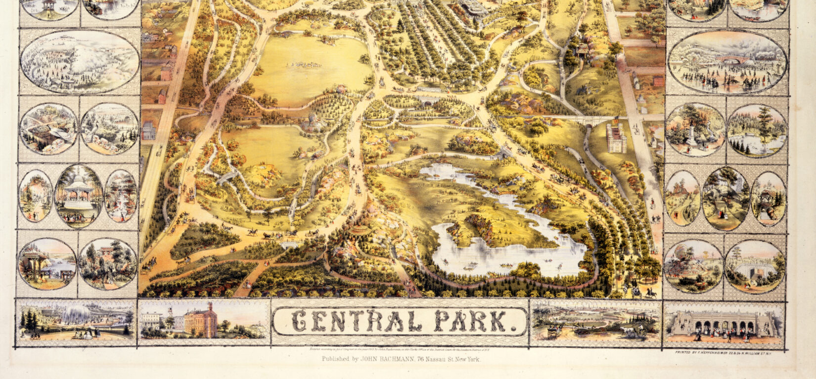 """Lionel Pincus and Princess Firyal Map Division, The New York Public Library. """"Central Park"""" The New York Public Library Digital Collections.1863."""