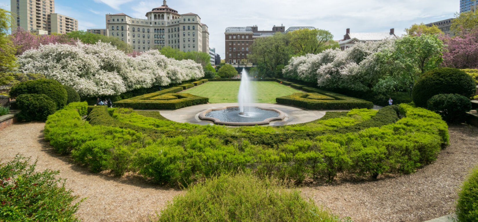 A fish-eye view of Conservatory Garden looking east toward 5th Avenue