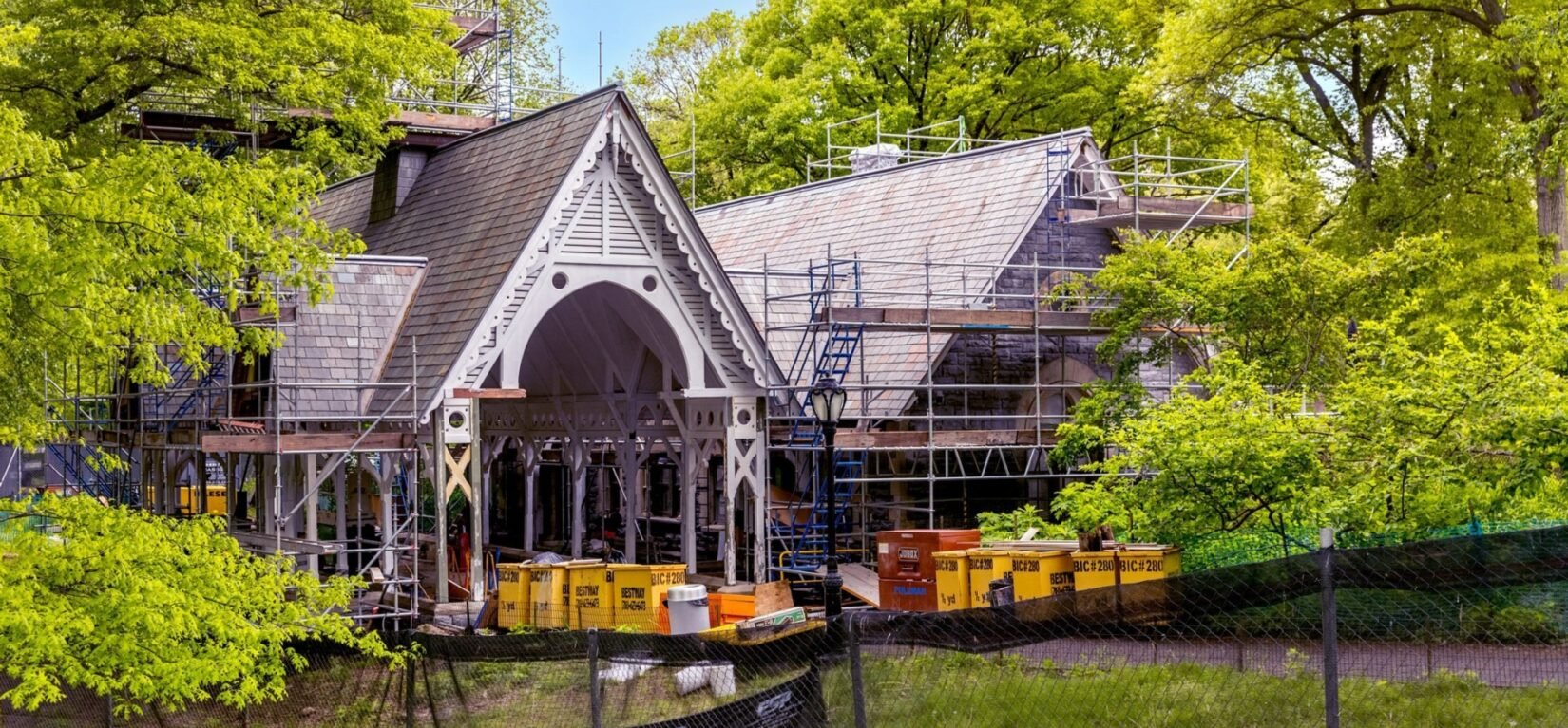 The Dairy in May, 2021, surrounded by scaffolding and renovation equipment.