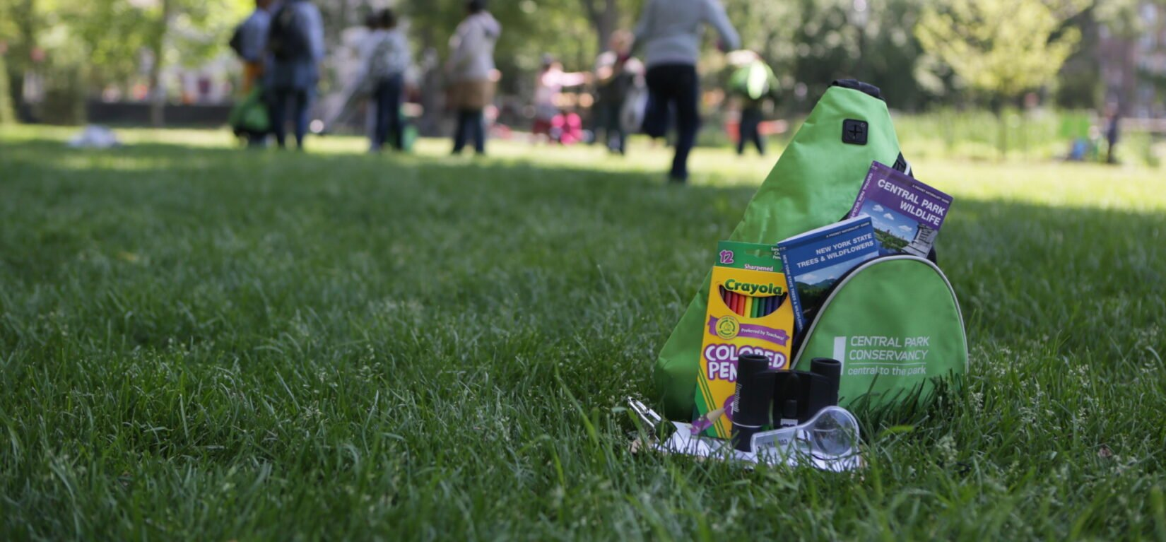 A Discovery Kit with crayons, binoculars, and other goodies, pictured on a lawn in summer
