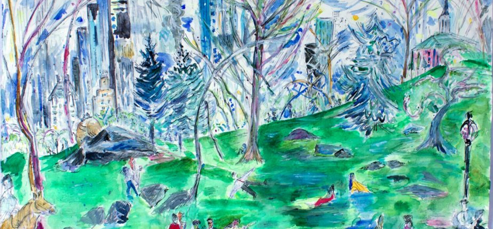 """""""Almost Spring, Central Park"""" (watercolor, detail) by Jessica Daryl Winer"""