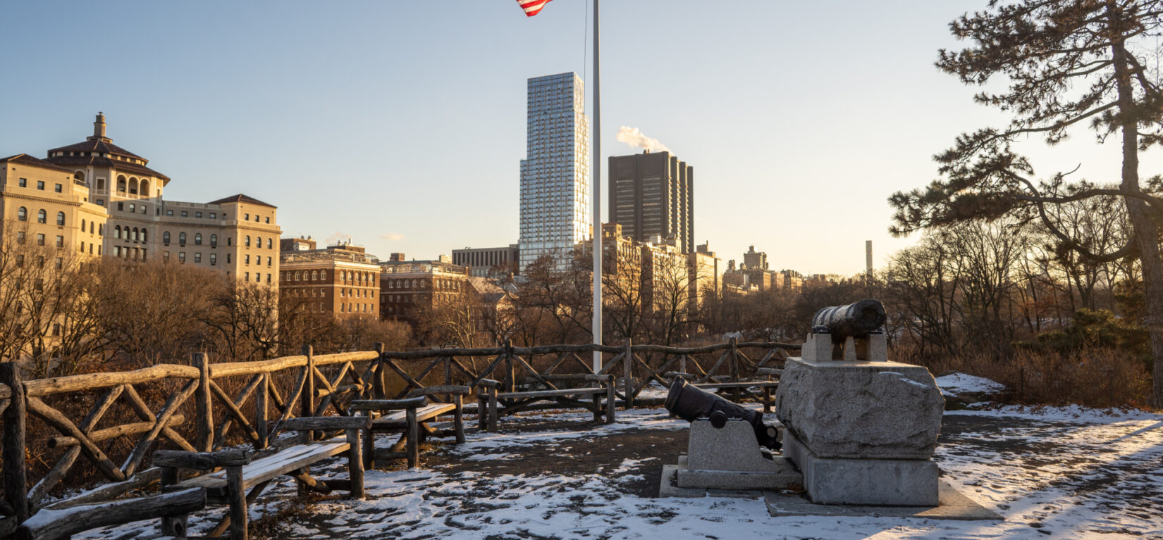 Fort Clinton in winter, with the Harlem skyline in the background