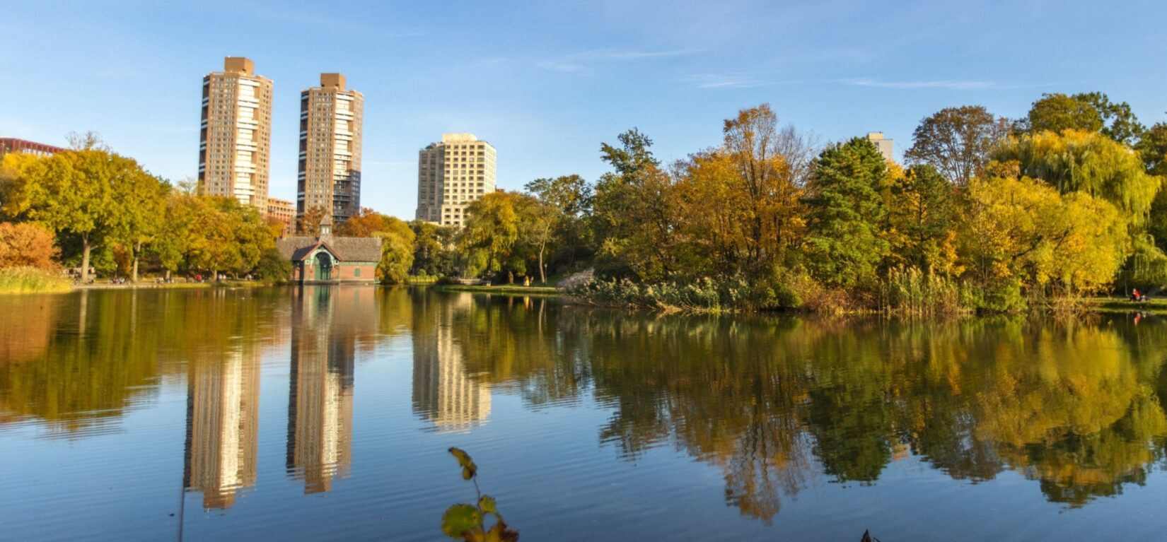 A view across the Harlem Meer, showing the Dana Discovery Center on the far shore and the skyline of Harlem behind it.