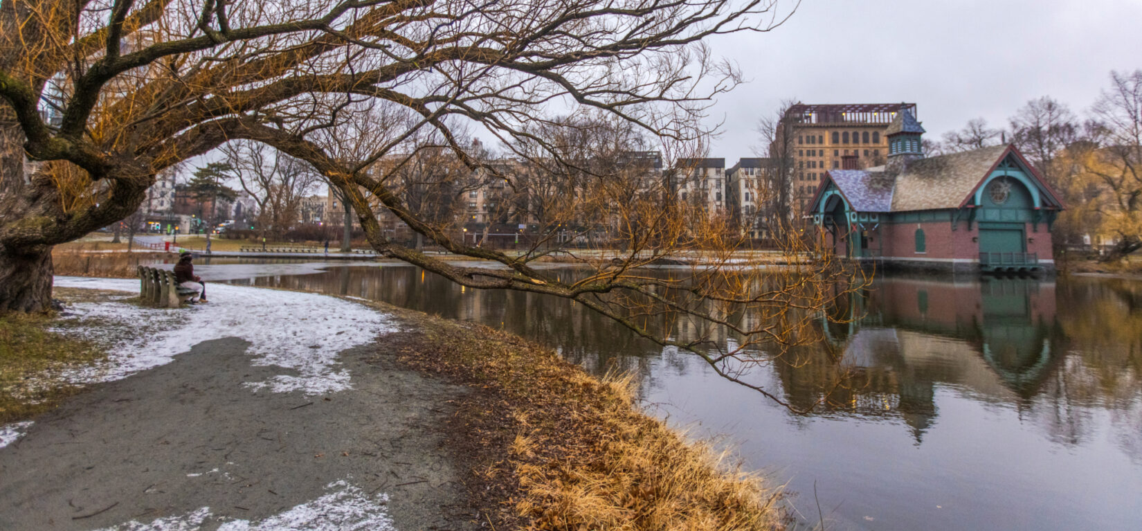 Parkgoers sit on the opposite bank of the Harlem Meer from the Dana Center in this winter photo.