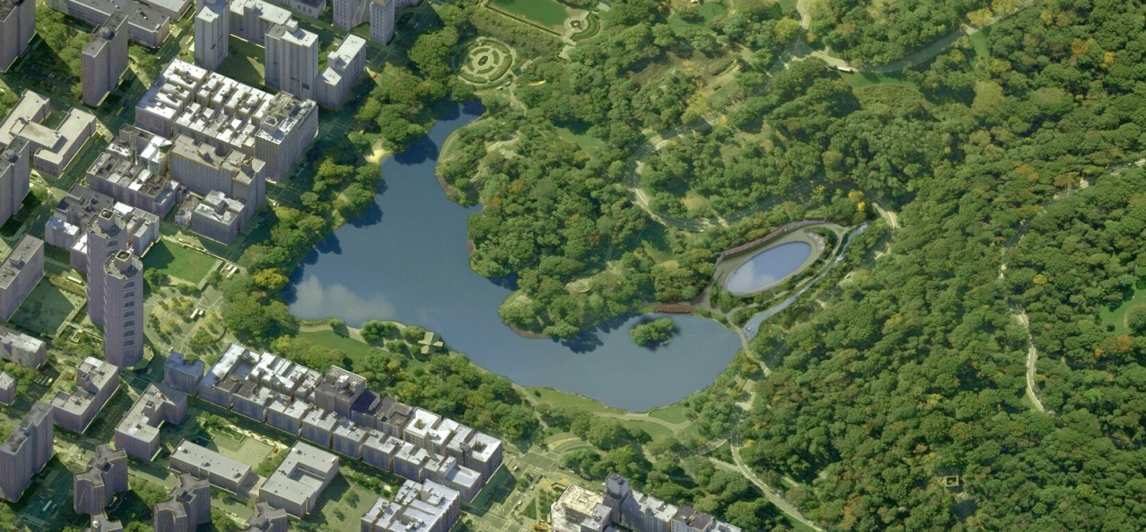 An aerial rendering of the reenvisioned Harlem Meer Rink and Pool