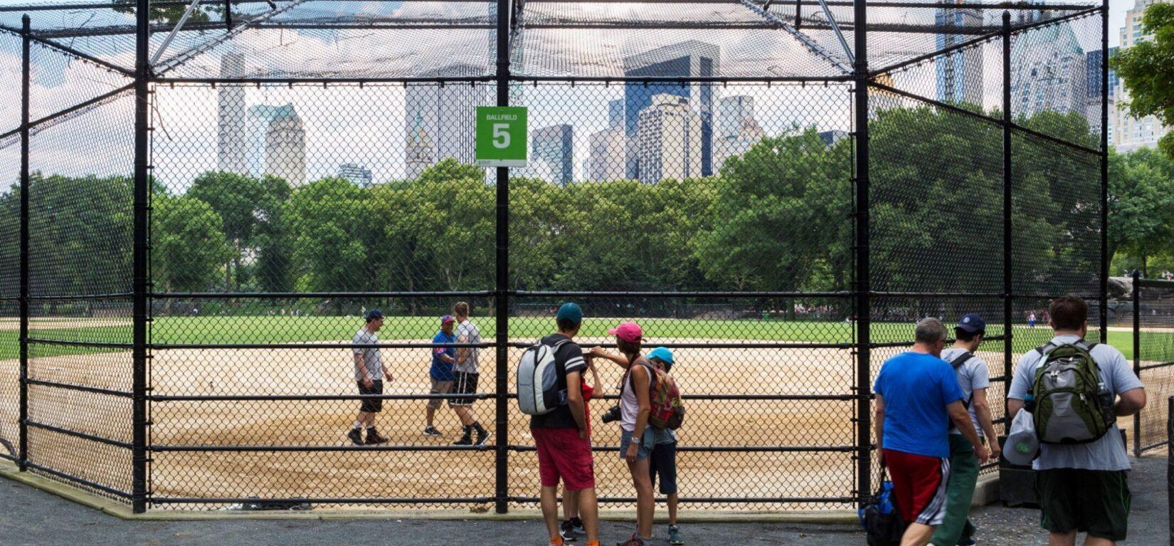 The midtown skyline seen through the chain-link backstop of ballfield #5