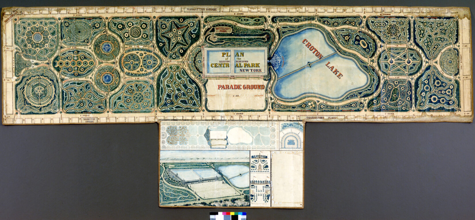 """An early plan for Central Park shows a collection of manicured gardens, with the Reservoir labeled """"Croton Lake."""""""