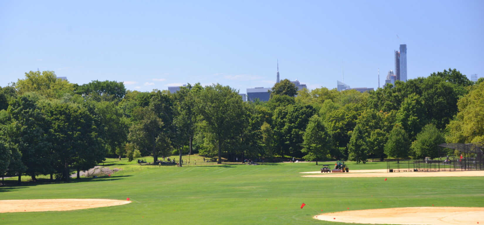 The ballfields at North Meadow under a cloudless blue sky