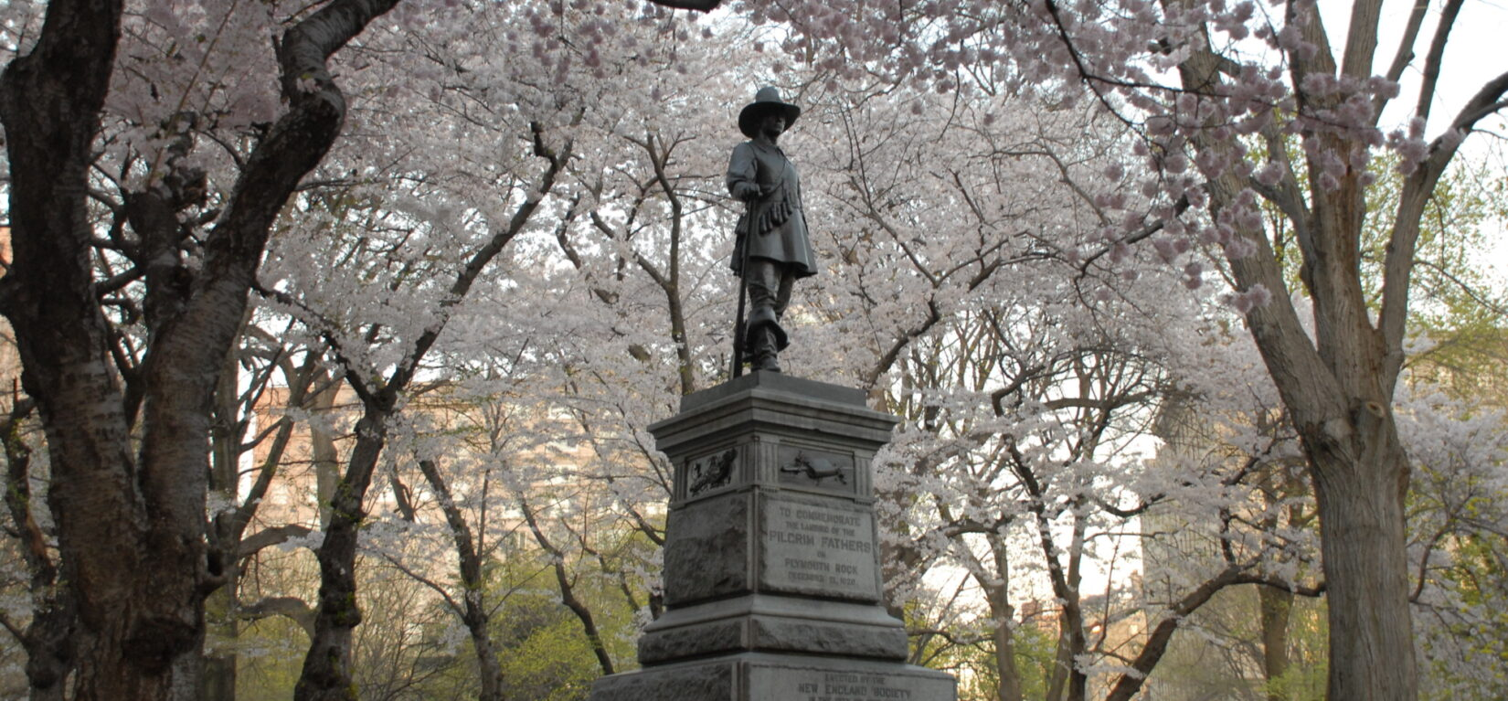 The statue at Pilgrim Hill surrounded by spring blossoms