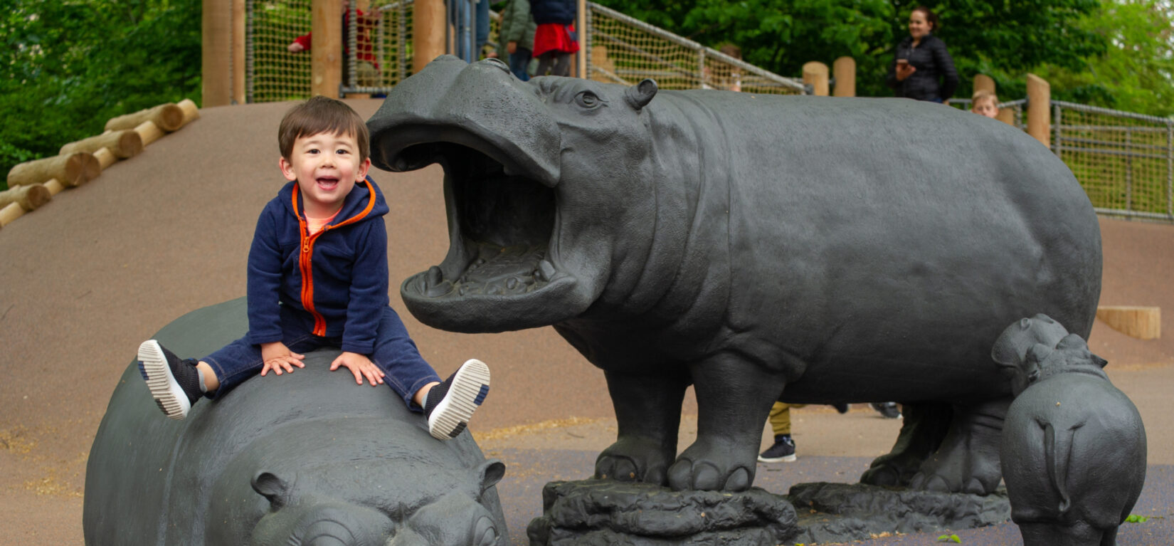 A child sits one of the hippos the populate the Safari Playground