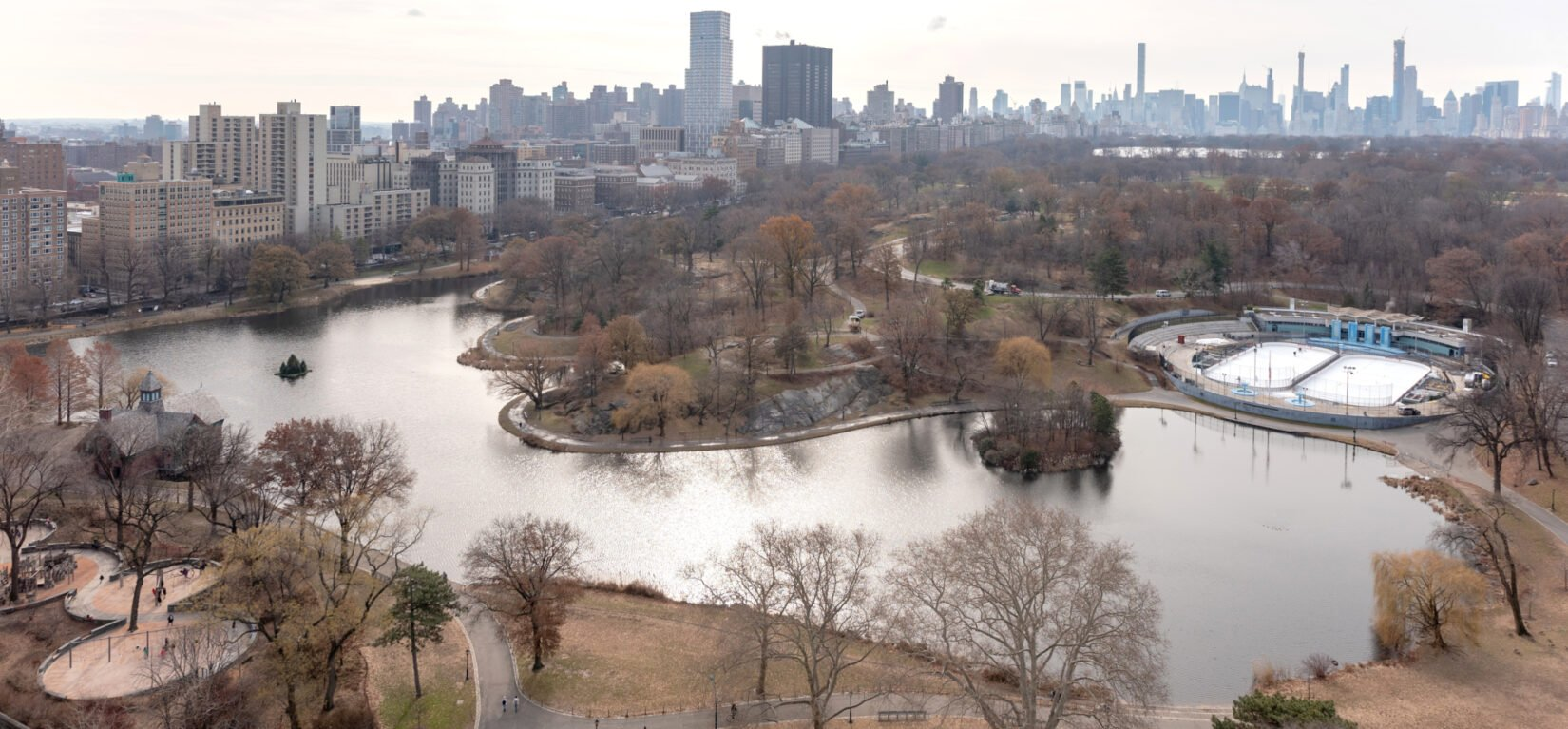 An aerial view of the Harlem Meer in the winter of 2018