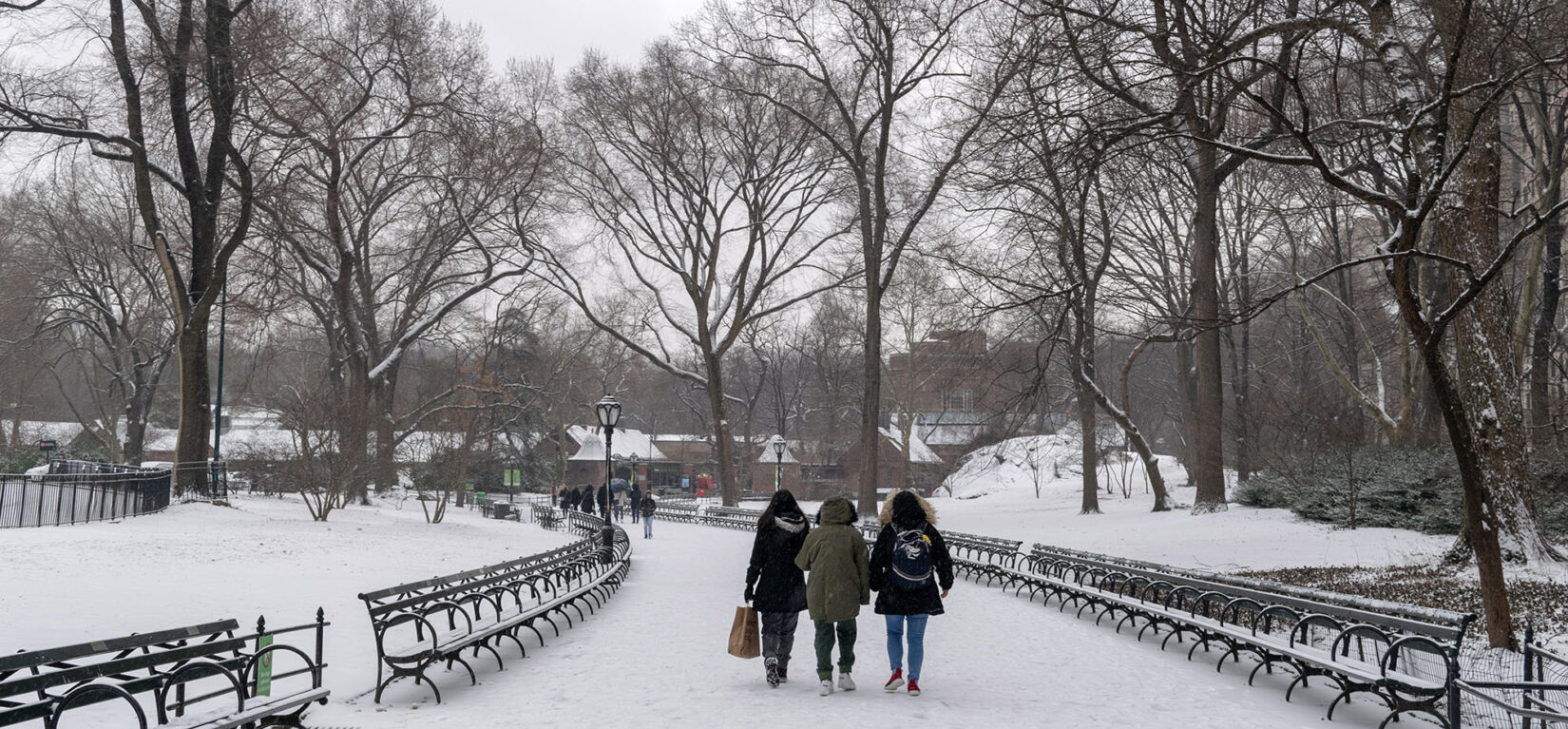 Three parkgoers bundled up for winter walk a snowcovered, bench-lined path in the Park