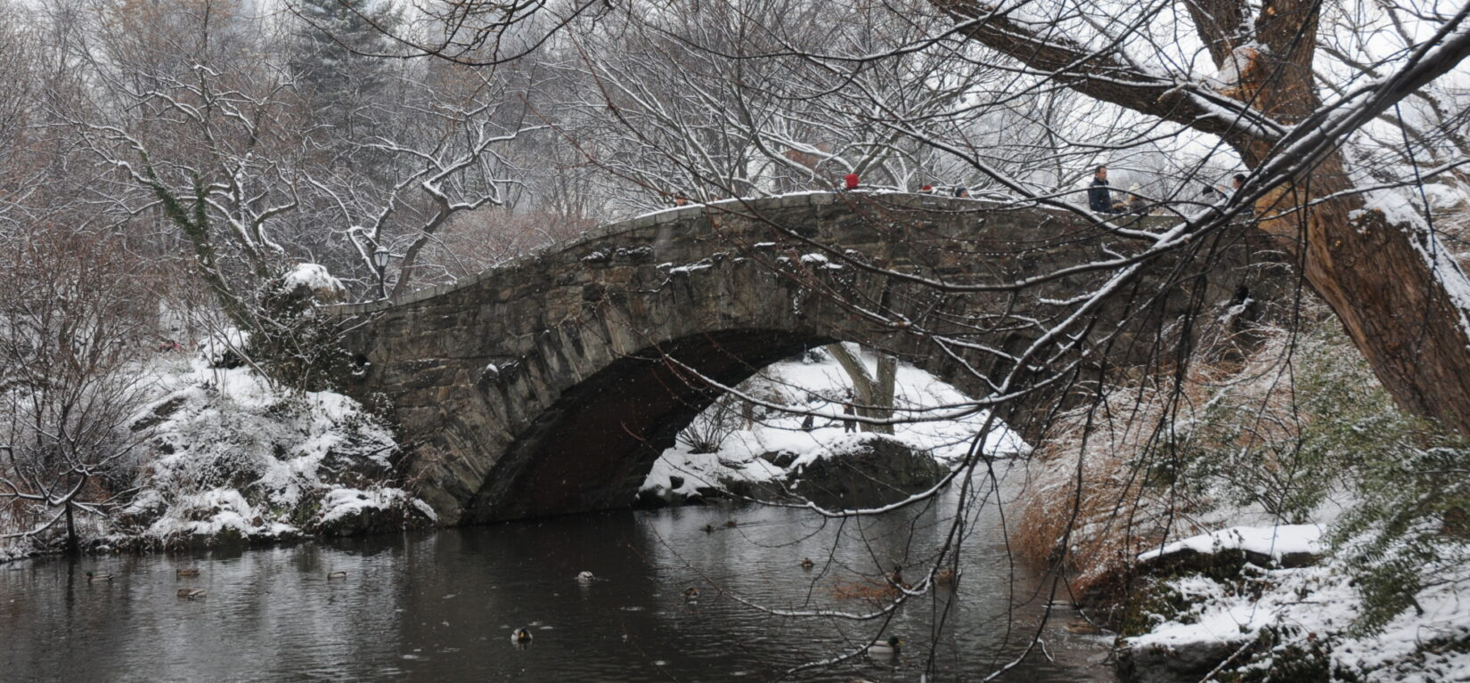 Park-goers cross the bridge spanning the Pond in winter