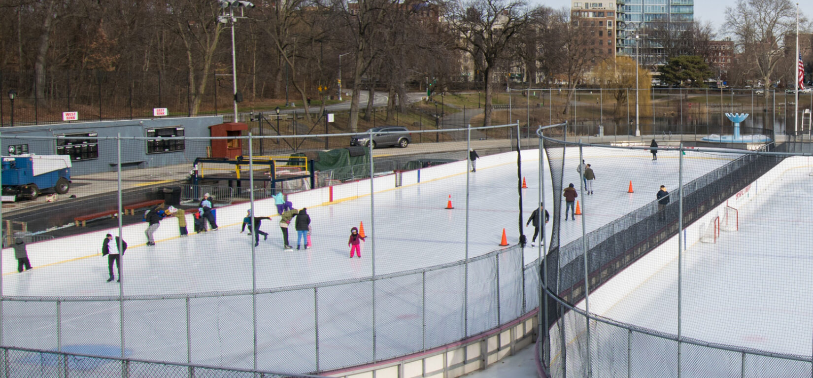 People iceskating at Lasker Rink