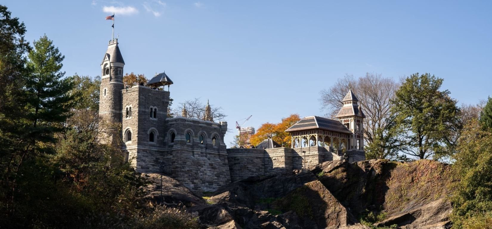 A view of Belvedere Castle, seen looking up from Turtle Pond