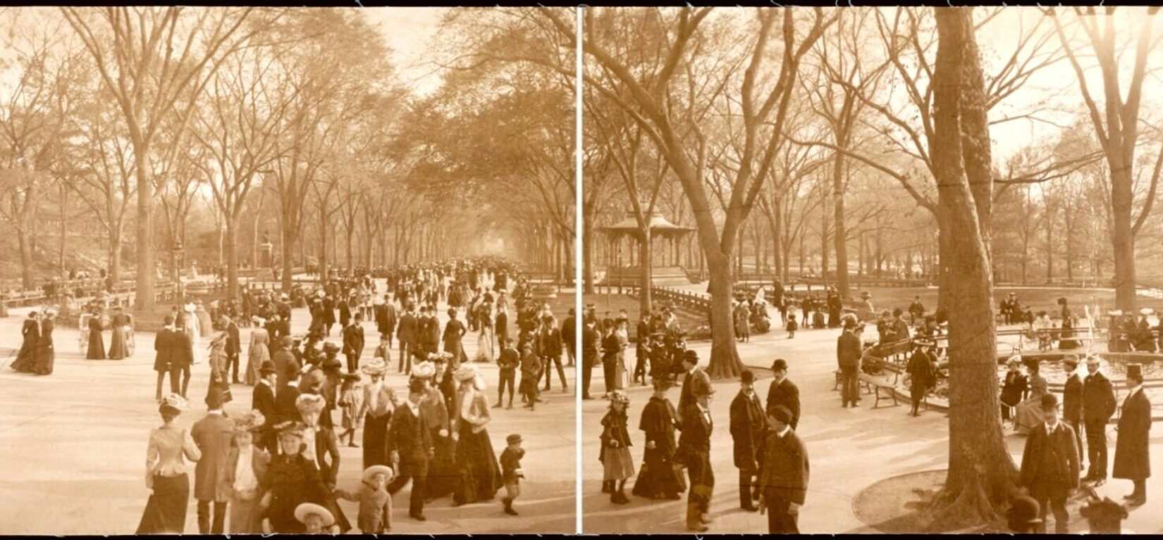 A view of the Mall, crowded with visitors, photographed in 1902.