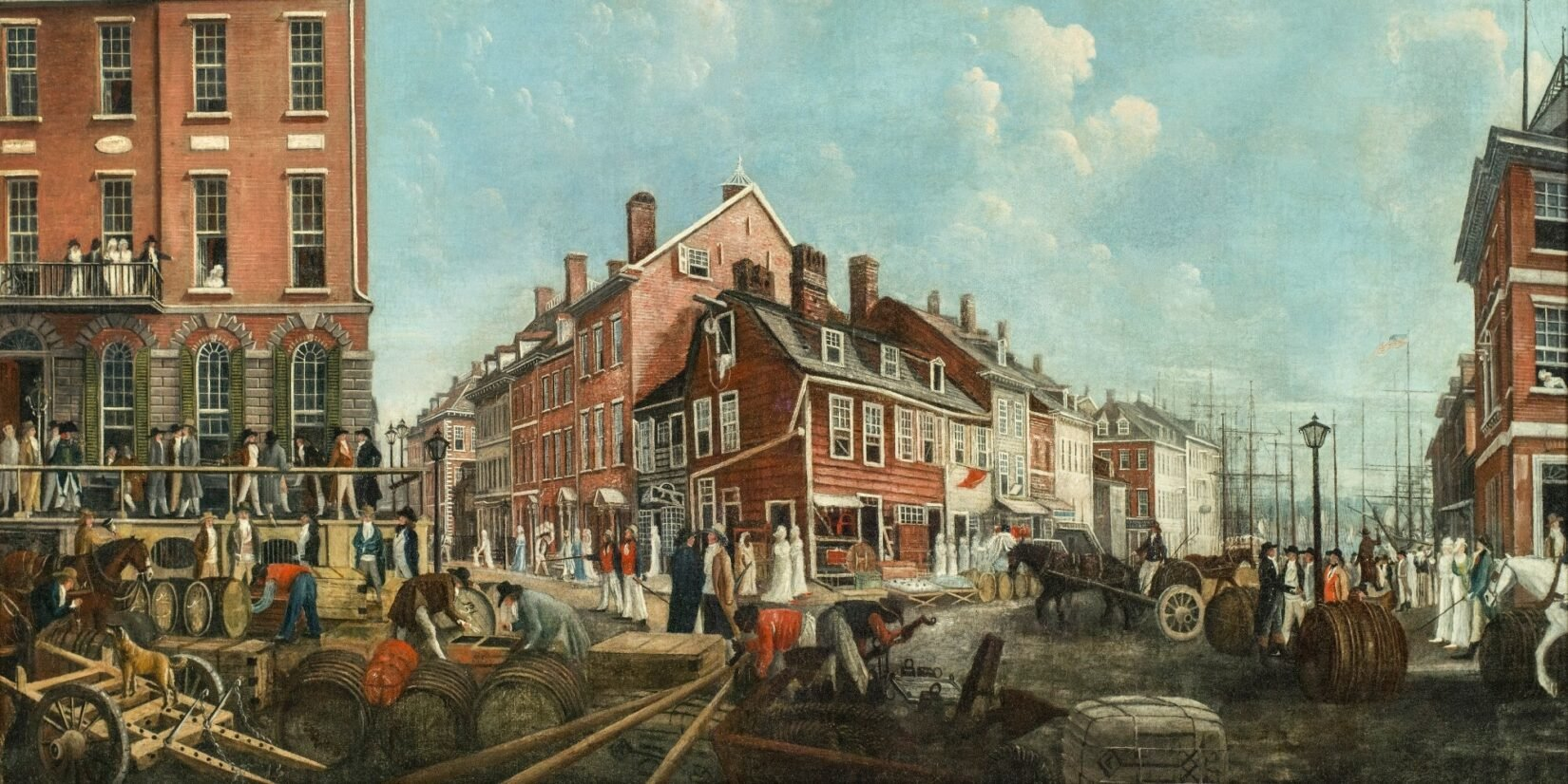 The painting shows a bustling intersection of late 18th-century New York.