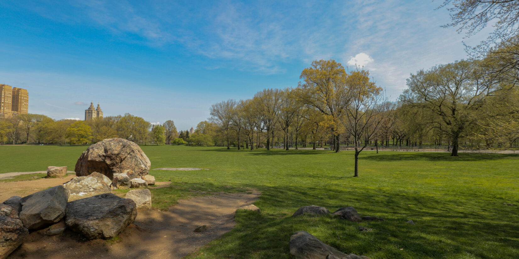 The Sheep Meadow in spring, pictured empty of park visitors
