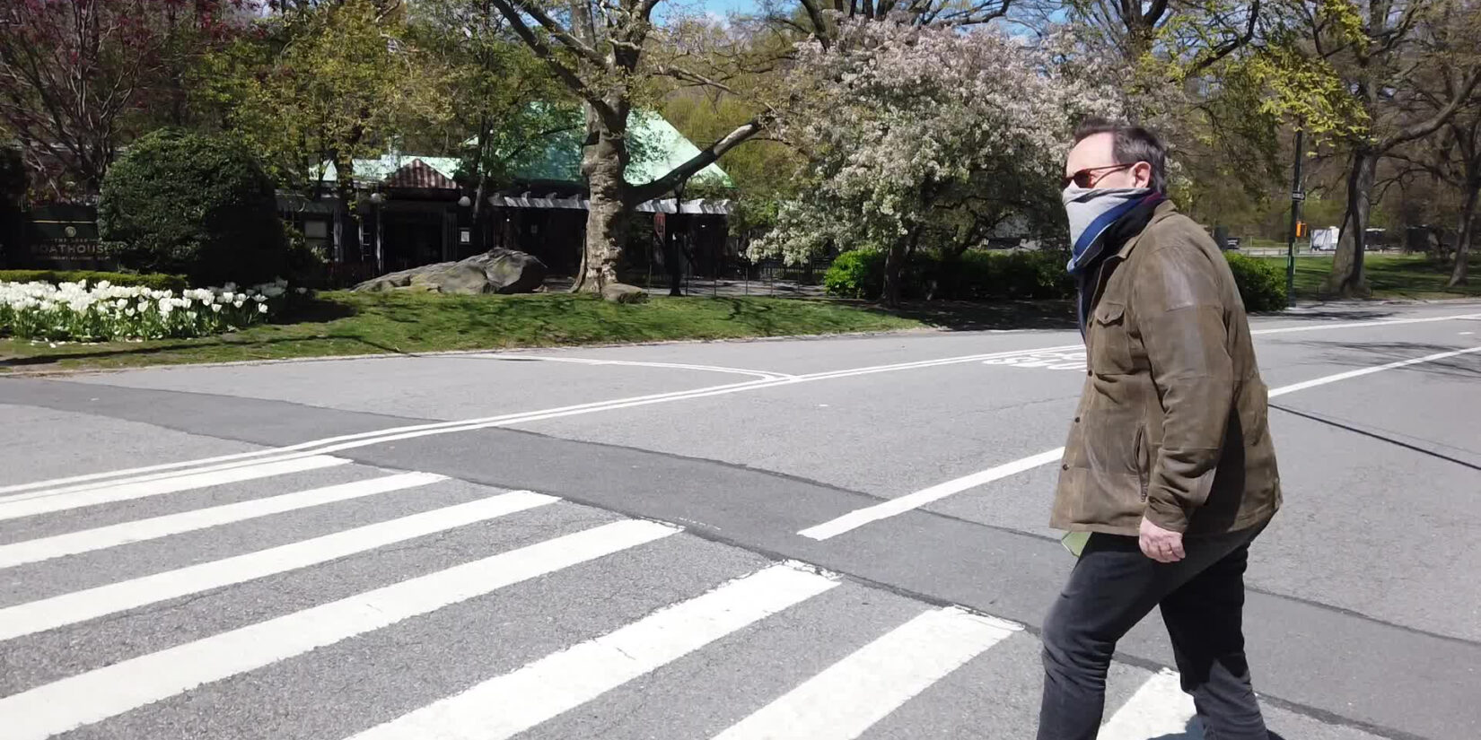 Mason pictured in the crosswalk of a Park drive