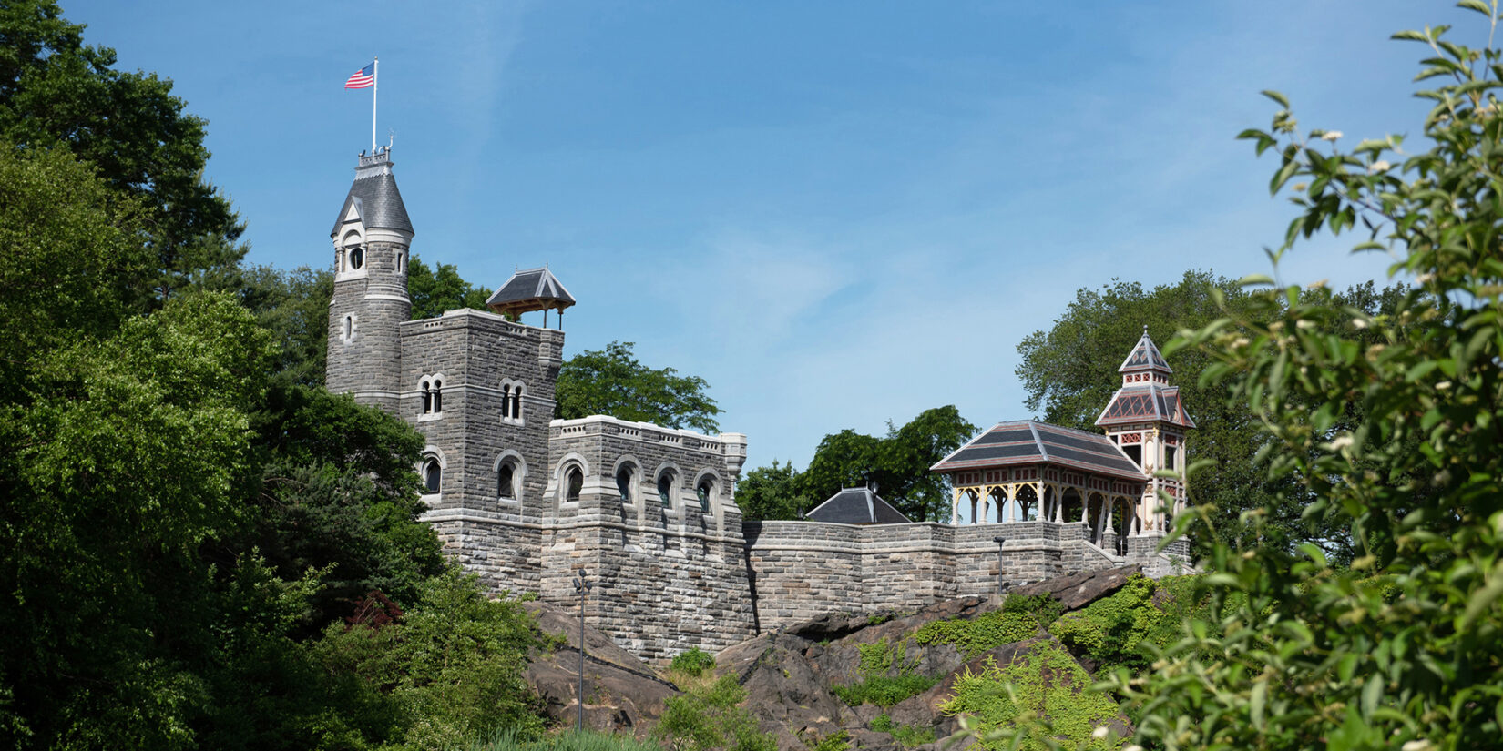 A view of Belvedere Castle seen from across Turtle Pond