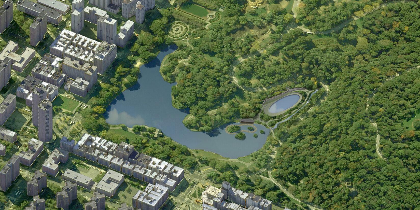 An aerial rendering of reimaginged Lasker Rink and Pool
