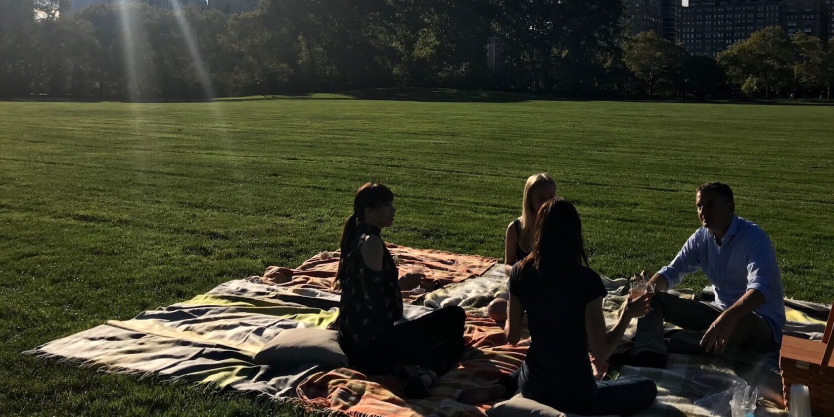 Phil Rosenthal and ballet dancers having a picnic on the Great Lawn