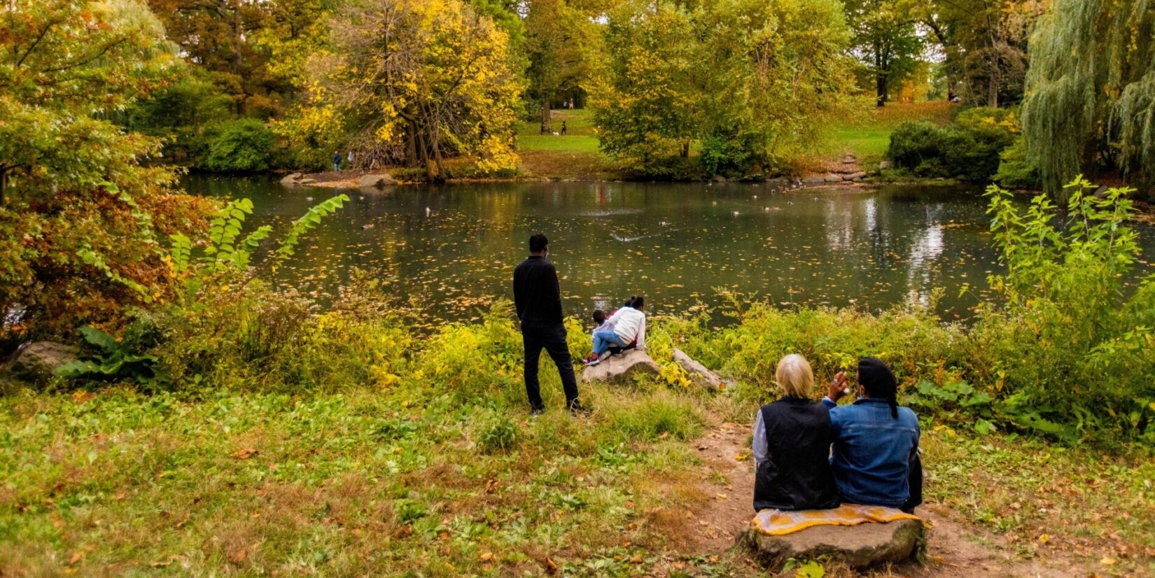 Park-goers take in the autumn scenery on the banks of the Pool.