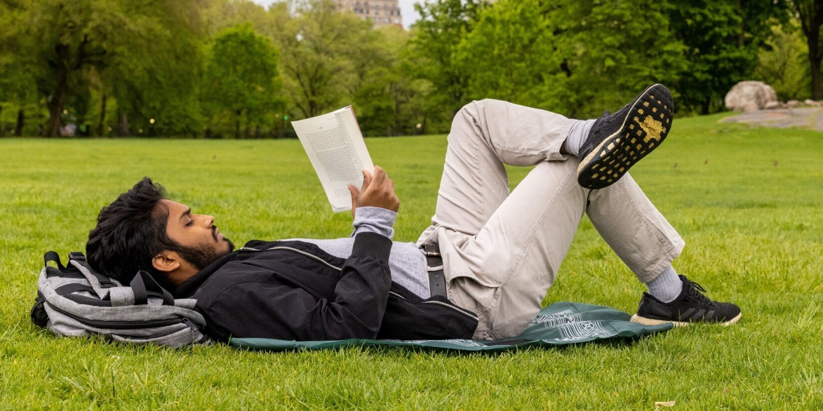 A bearded gentleman lying on his back and reading on the meadow
