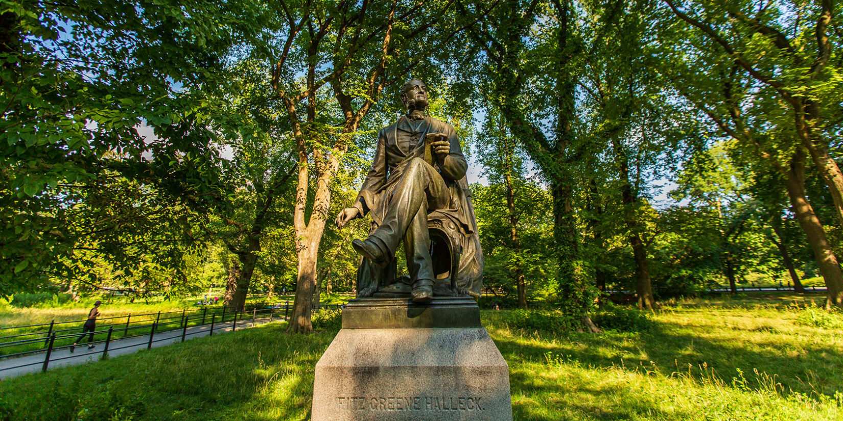 A wide-angle shot of the Fritz Green Halleck statue on the Mall