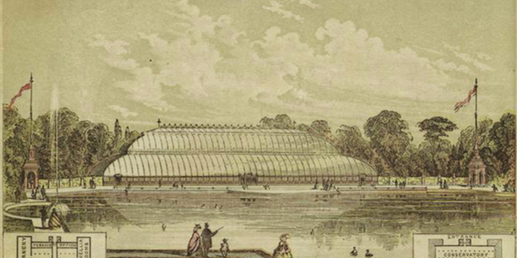 Contemporary rendering showing a large glass pavilion on the banks of a symmetric duck pond.
