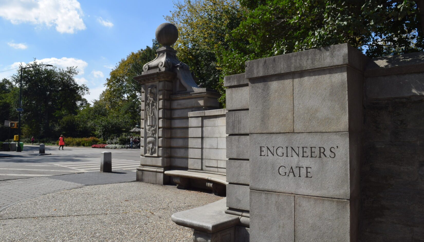 A view of Engineers' Gate in Summer showing blocks of curved stonework