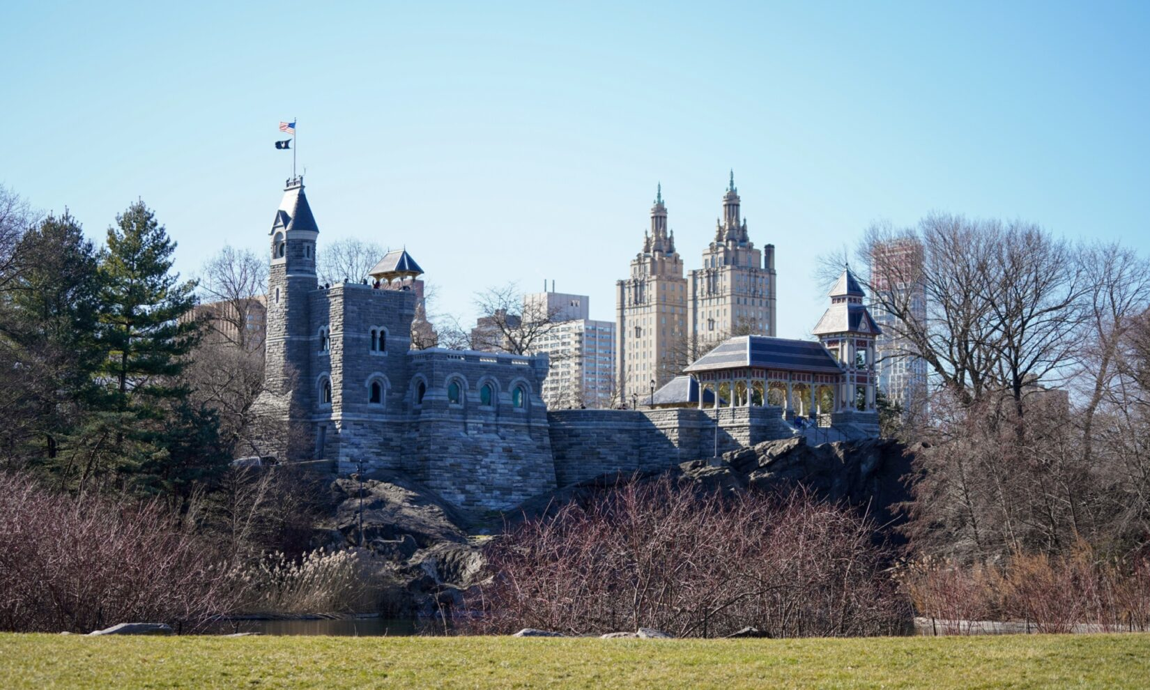 A view of Belvedere Castle on a winter's day