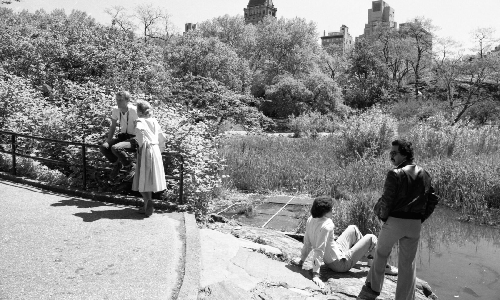Park visitors in 1981 by the Lake