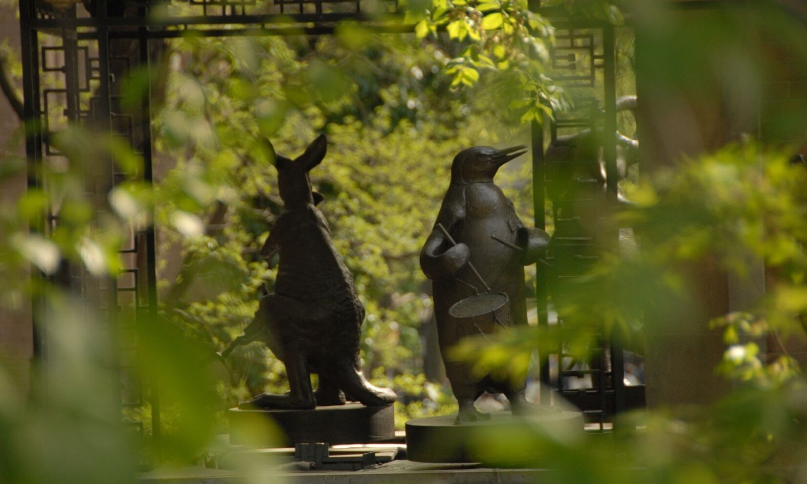 Detail of the hare and penguin figures of the Clock.
