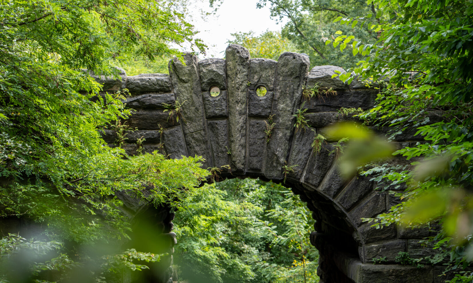 A detailed view of the masonry and keystones of the arch, surrounded by thick greenery.