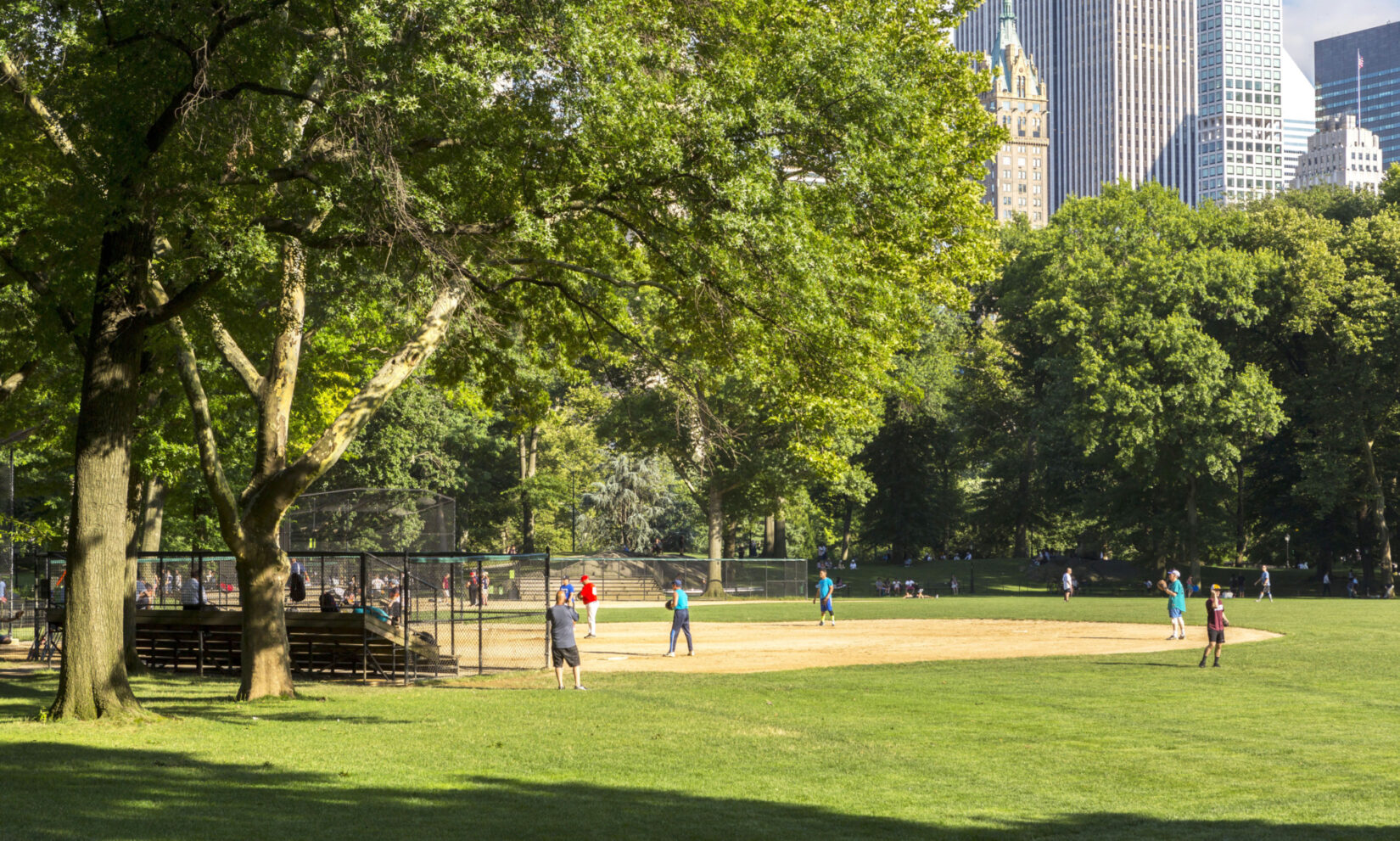 Ballplayers waiting for the pitch under a lush canopy of green leaves.