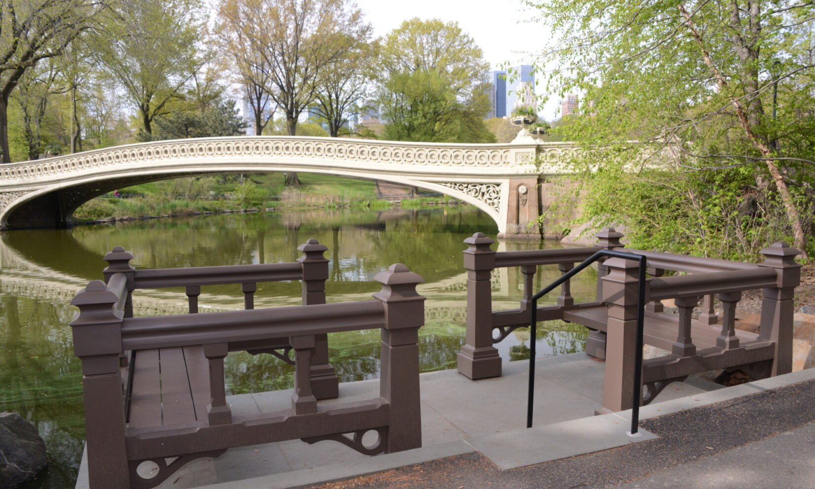 Bow Bridge is seen across the Lake from the landing in spring.
