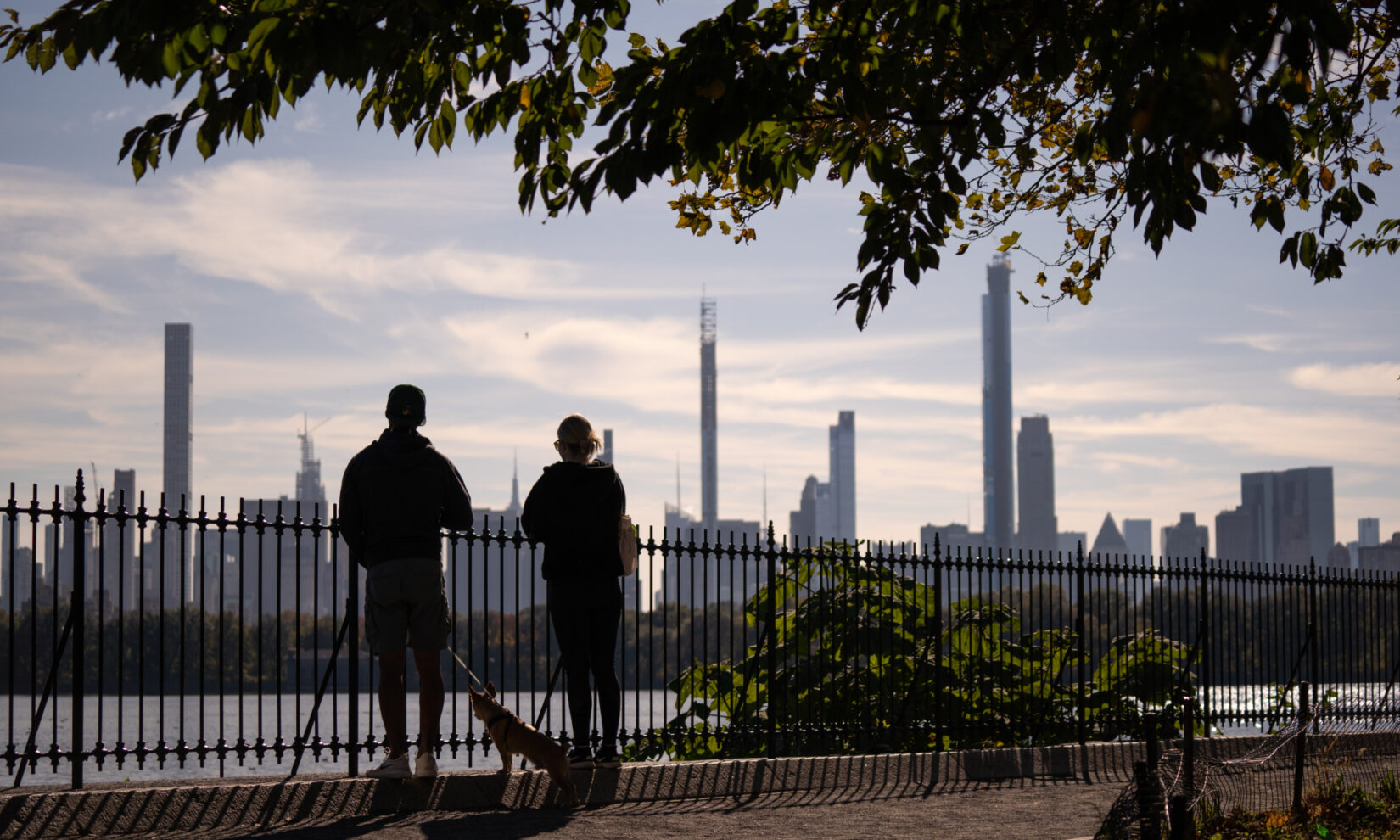 A couple, and their small dog, look South across the Reservoir to the skyline of midtown Manhattan in the distance.