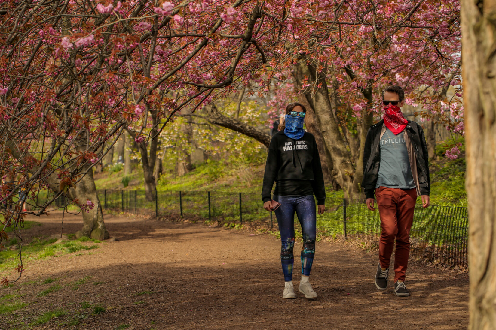 Park-goers, masked, alone on a stroll